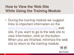 how to view the web site while using the training module