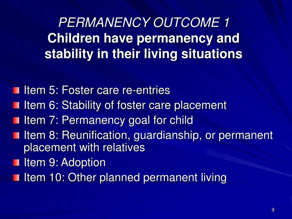 PERMANENCY OUTCOME 1