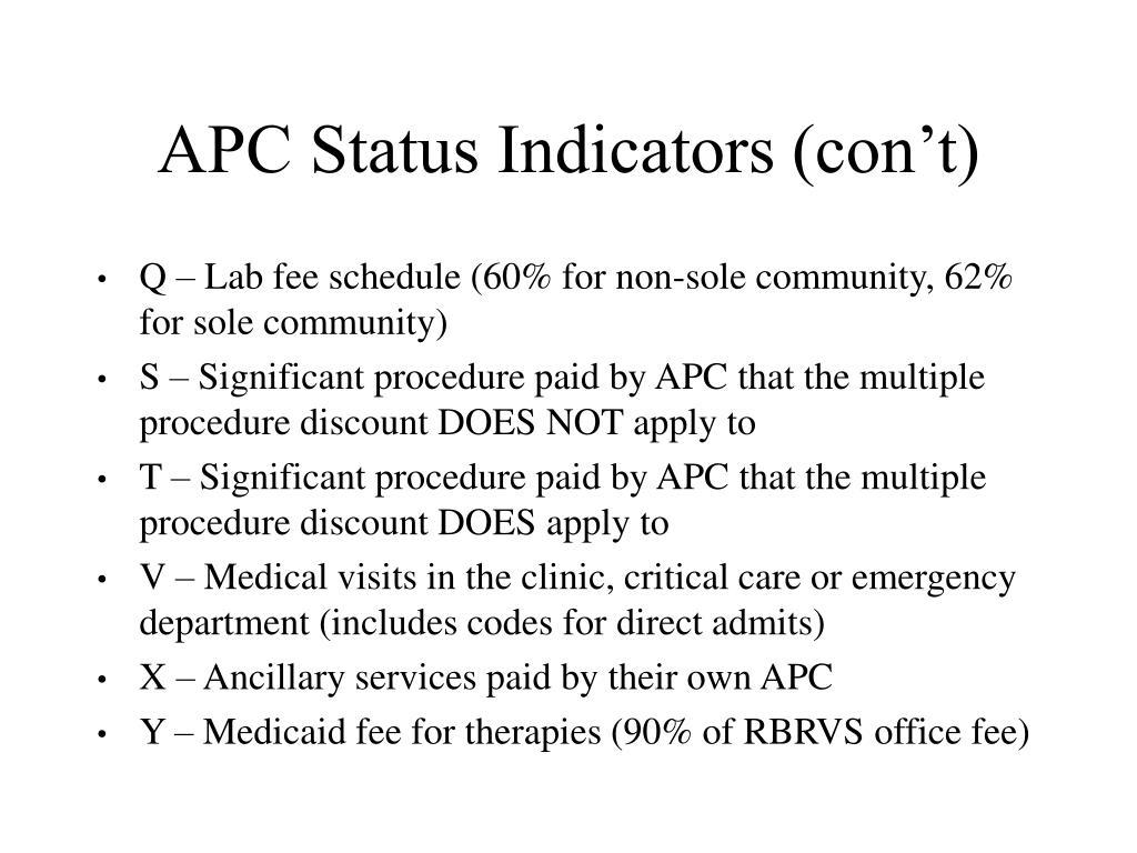 APC Status Indicators (con't)