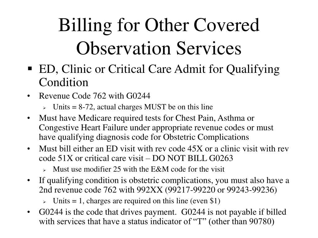 Billing for Other Covered Observation Services
