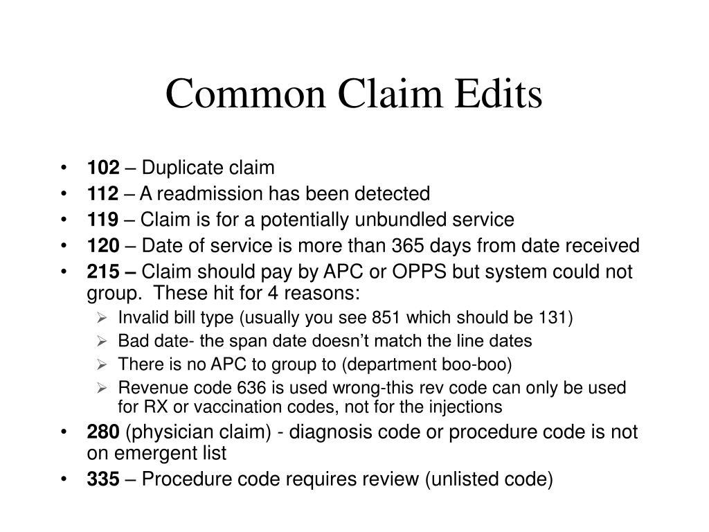 Common Claim Edits