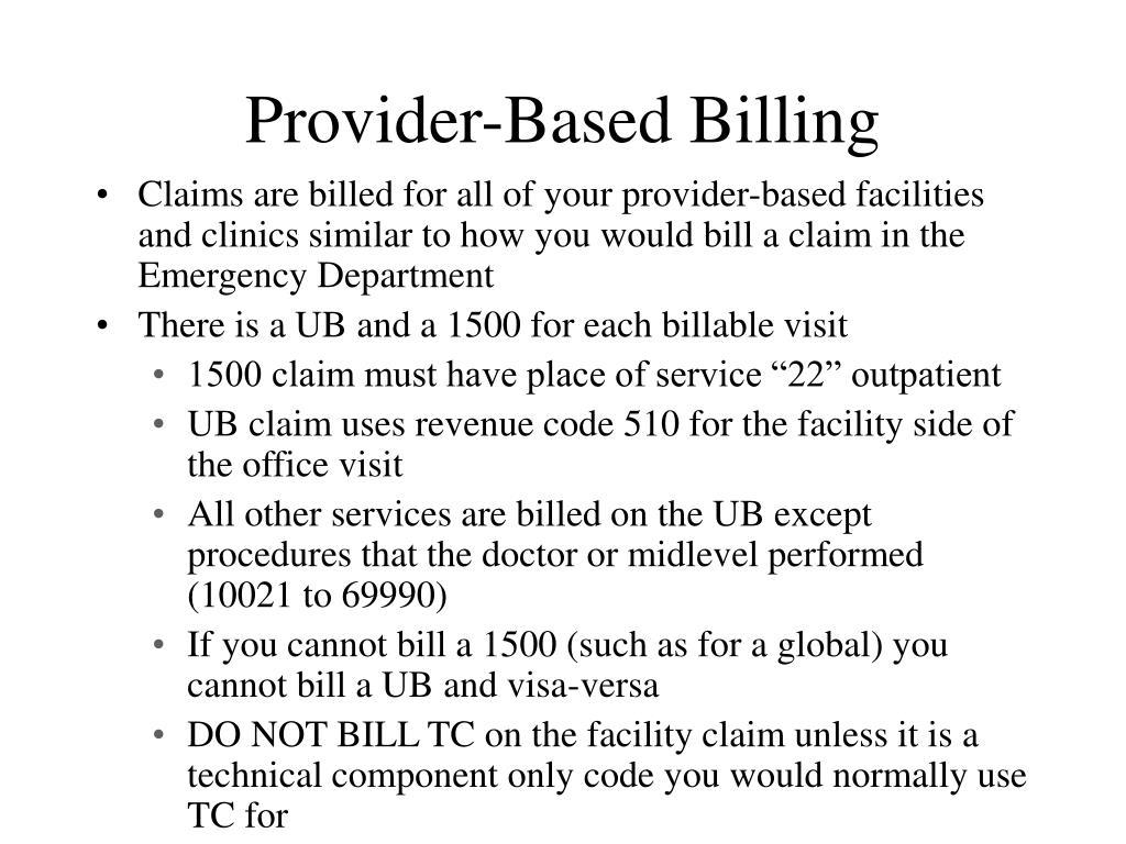 Provider-Based Billing