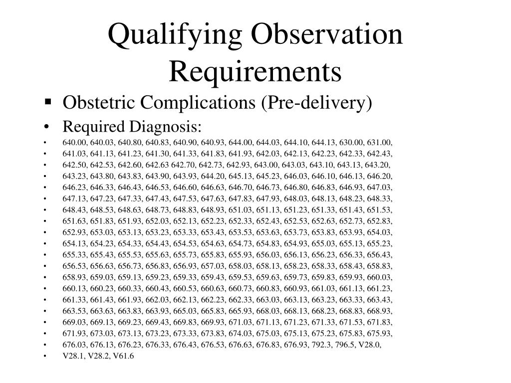 Qualifying Observation Requirements