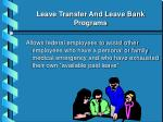 leave transfer and leave bank programs