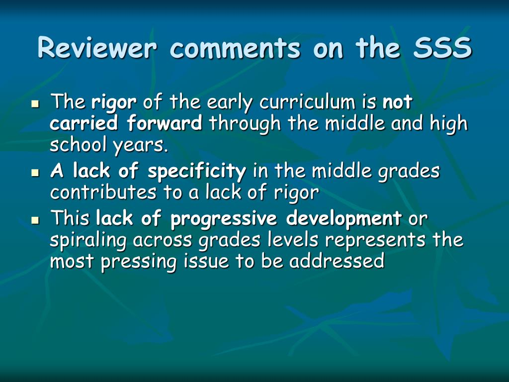 Reviewer comments on the SSS