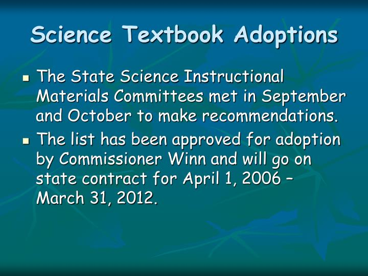 Science textbook adoptions