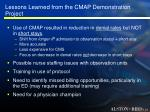 lessons learned from the cmap demonstration project