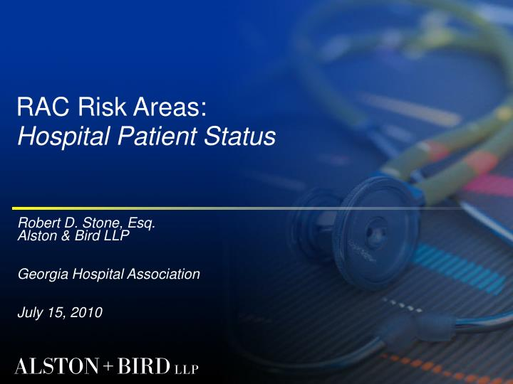 rac risk areas hospital patient status n.