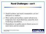 rural challenges con t