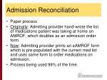 admission reconciliation