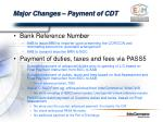 major changes payment of cdt