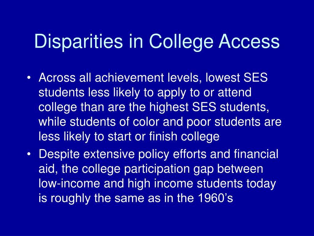 Disparities in College Access