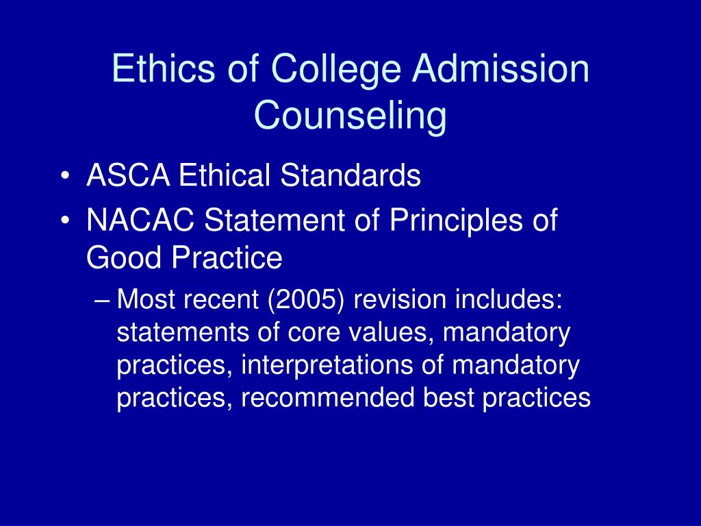 Ethics of College Admission Counseling