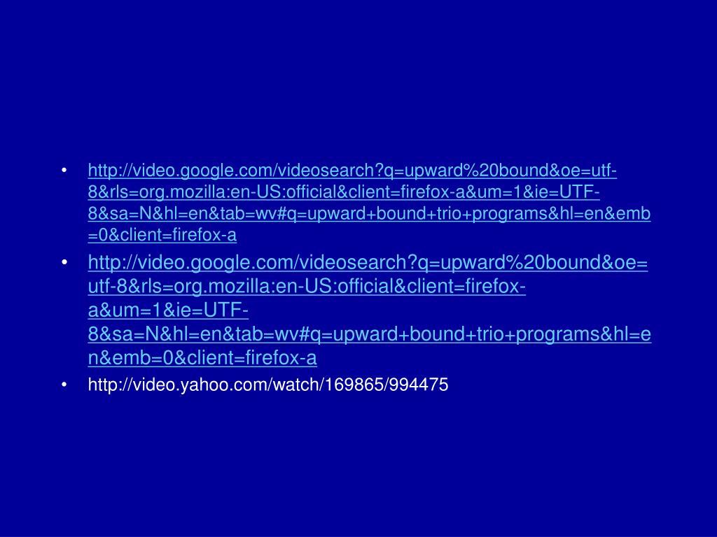 http://video.google.com/videosearch?q=upward%20bound&oe=utf-8&rls=org.mozilla:en-US:official&client=firefox-a&um=1&ie=UTF-8&sa=N&hl=en&tab=wv#q=upward+bound+trio+programs&hl=en&emb=0&client=firefox-a
