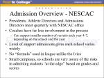 admission overview nescac