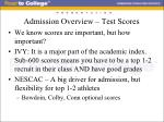 admission overview test scores