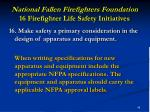 national fallen firefighters foundation 16 firefighter life safety initiatives45
