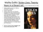 malika oufkir stolen lives twenty years in a desert jail co author michelle fitoussi 2001