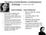 the poetry of arab women a contemporary anthology ed nathalie handal 2000