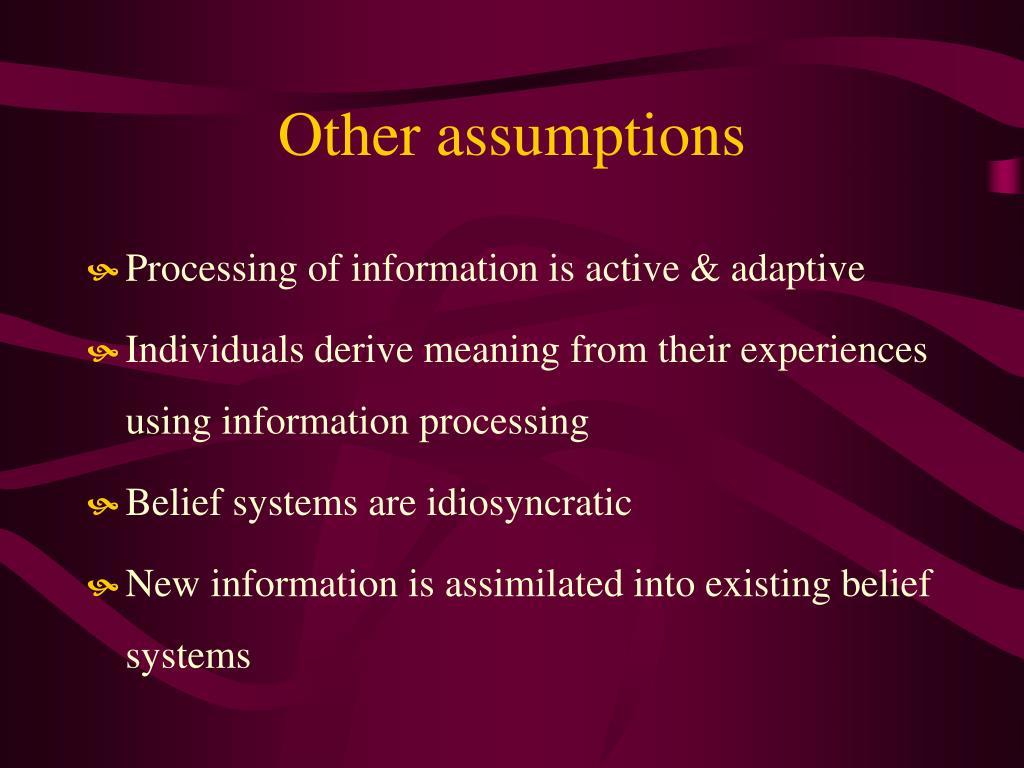 Other assumptions