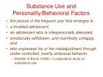 substance use and personality behavioral factors