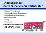 adolescence health supervision partnership