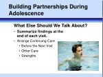 building partnerships during adolescence
