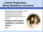 family preparation bring questions concerns