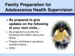 family preparation for adolescence health supervision