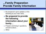 family preparation provide family information