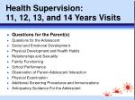 health supervision 11 12 13 and 14 years visits