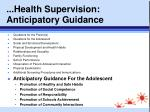 health supervision anticipatory guidance