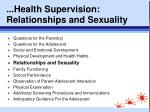 health supervision relationships and sexuality
