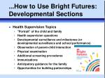 how to use bright futures developmental sections3