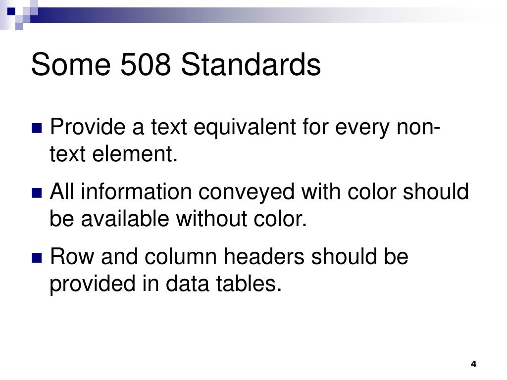 Some 508 Standards