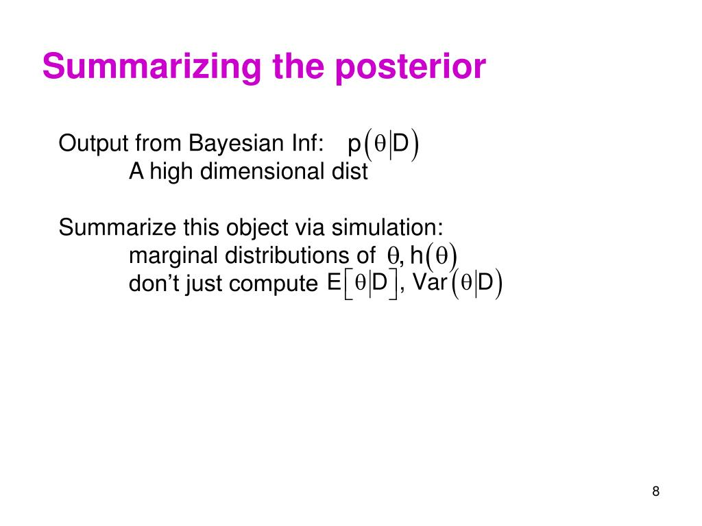 Summarizing the posterior