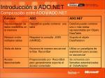 introducci n a ado net comparaci n entre ado y ado net