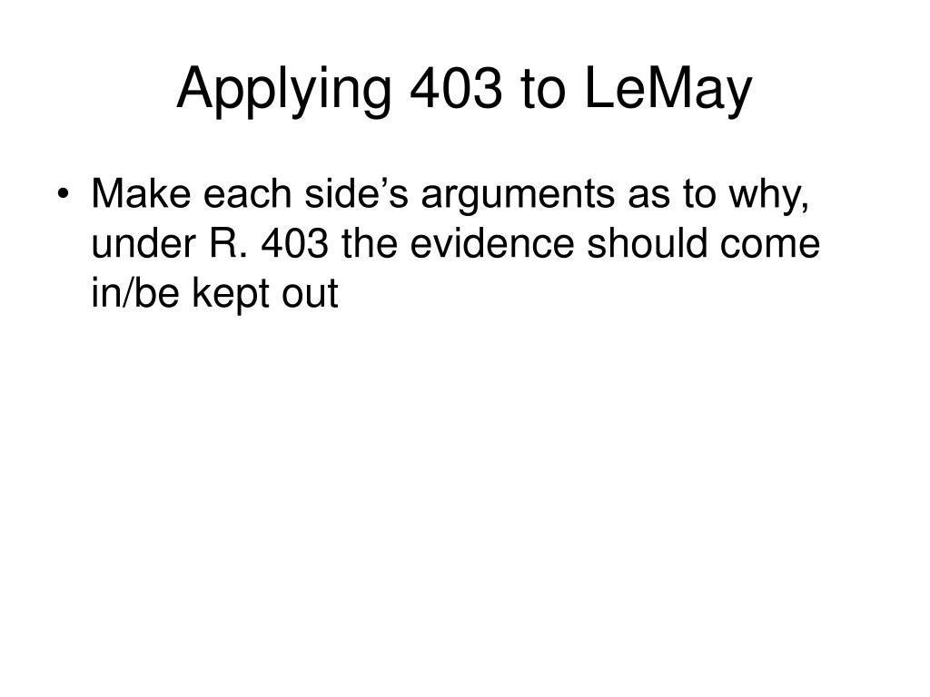 Applying 403 to LeMay