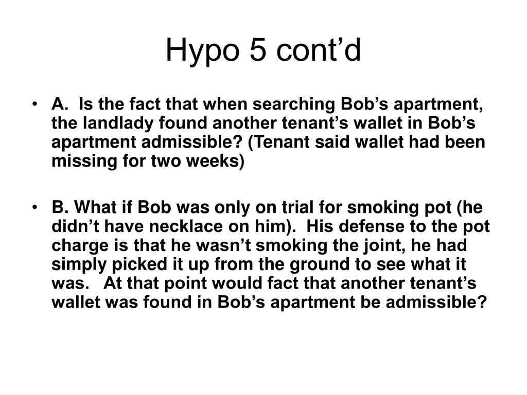 Hypo 5 cont'd
