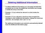 deleting additional information