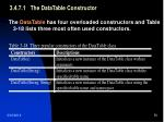 3 4 7 1 the datatable constructor