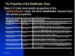 the properties of the datareader class