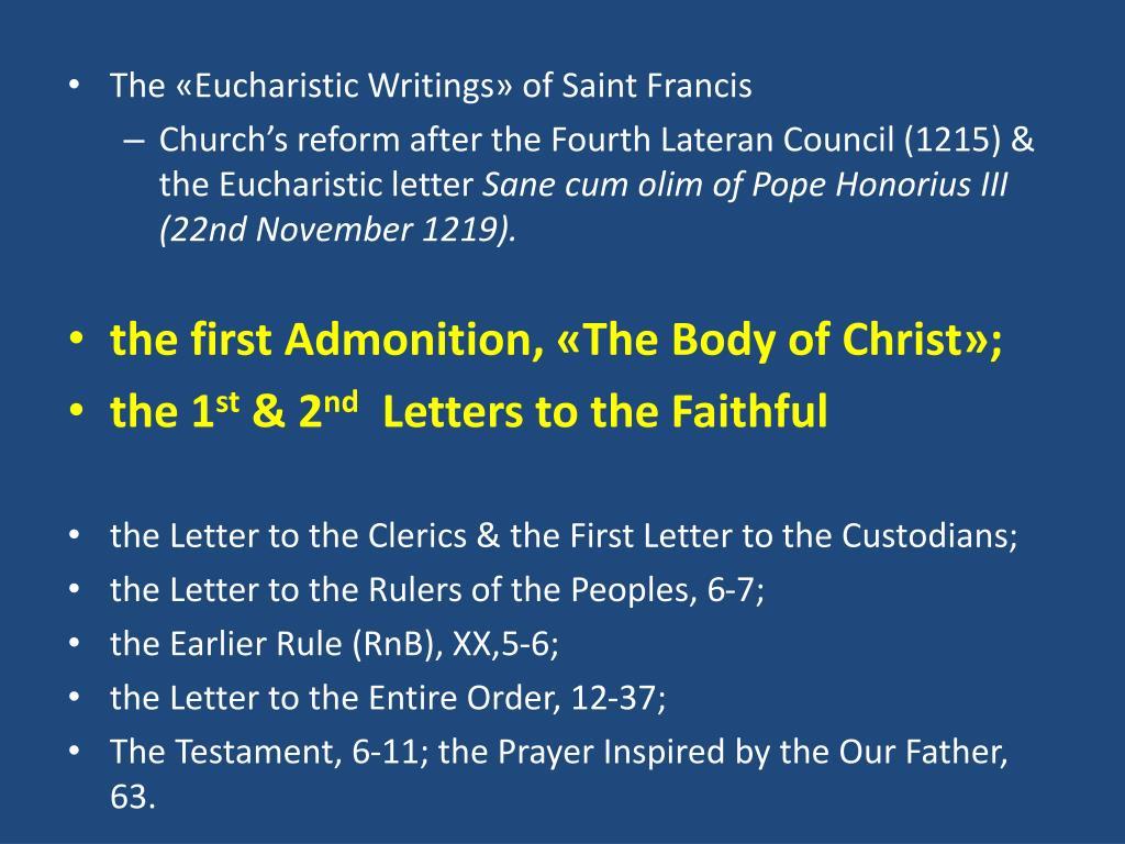 The «Eucharistic Writings» of Saint Francis