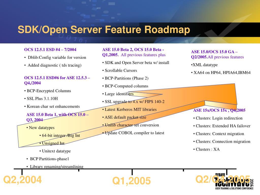 SDK/Open Server Feature Roadmap