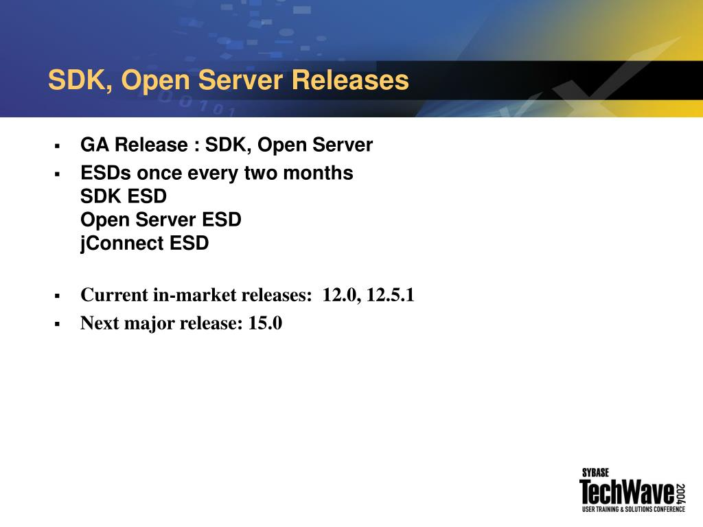 SDK, Open Server Releases