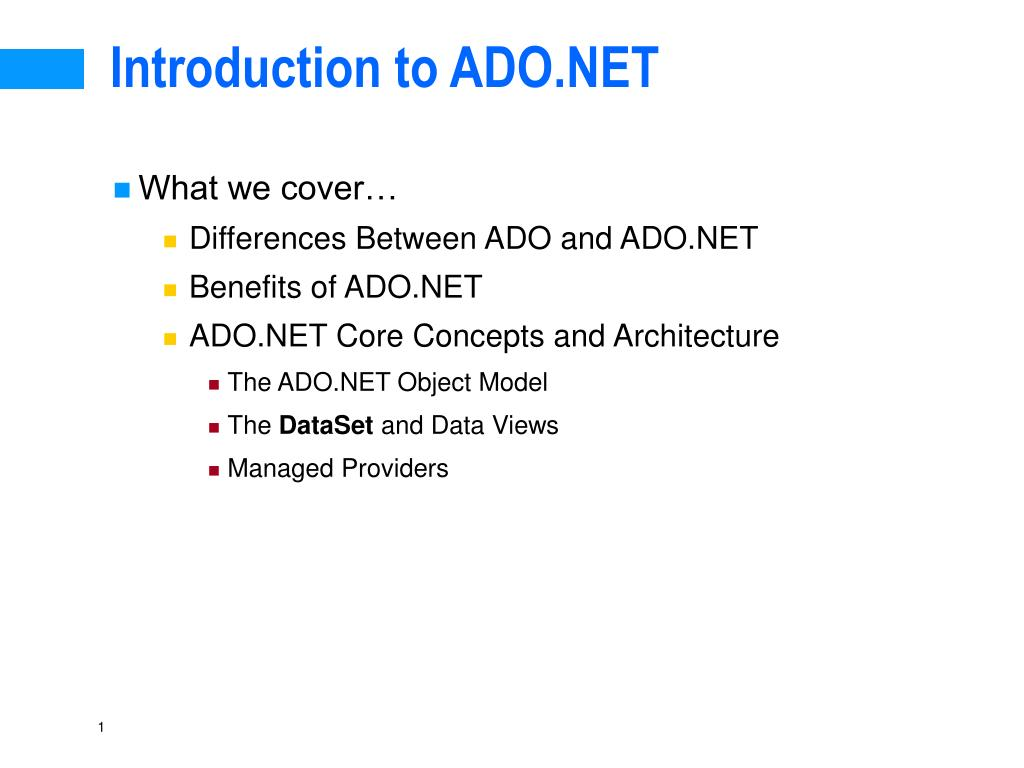 introduction to ado net l.