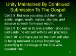 unity maintained by continued submission to the gospel17