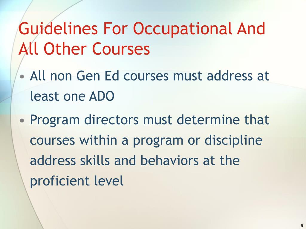 Guidelines For Occupational And All Other Courses