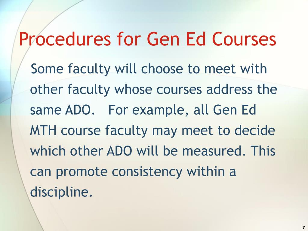 Procedures for Gen Ed Courses