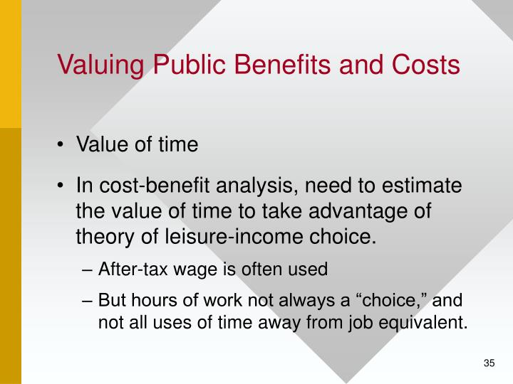 cost and value of offering benefits to Value in marketing, also known as customer-perceived value, is the difference between a prospective customer's evaluation of the benefits and costs of one product when compared with others value may also be expressed as a straightforward relationship between perceived benefits and perceived costs: value = benefits / cost.